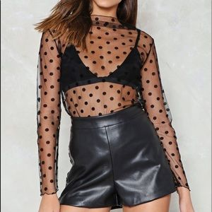 Nasty gal sheer polka dots blouse top new